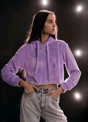 Женский худи укороченный фиолетовый