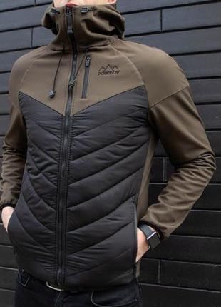 """Куртка pobedov jacket """"soft shell combi v2 """" khaki-black"""