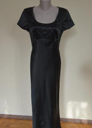 Красивое фирменное нарядное вечернее платье 100% шелк темно-зе...