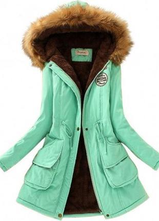 Женская куртка парка меховой воротник