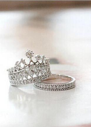 Элегантное серебряное женское кольцо корона (двойное кольцо)