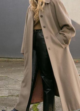 Распродажа!кашемир шерсть тёплое бежевое пальто большой размер