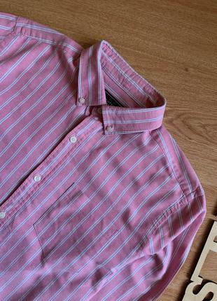 Розовая классическая рубашка в полоску линии белые john levis
