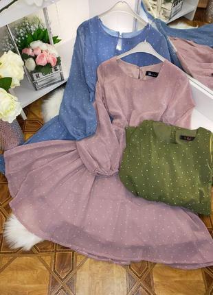 Шикарное шифоновое платье турция в горох 🔥новинка весна 2021