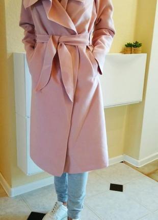 Пальто легкое нежно розовое OVERSIZE без подкладки с карманами по