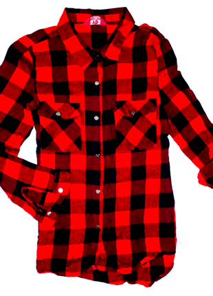 Рубашка в клетку yd 12-13 лет  (рук.48 шир 37, дл.58) коттон