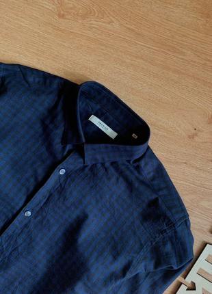 Темно-синяя рубашка в клеточку чёрную jack&jones