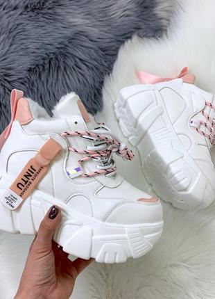 Зимние белые кроссовки на высокой подошве,тёплые кроссовки на ...