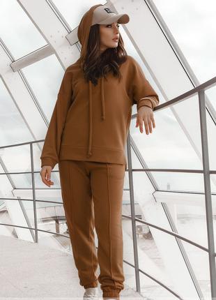 Спортивный костюм 2225-2 коричневый, размеры в ассортименте