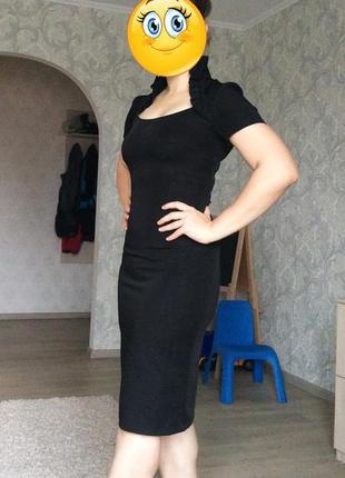 Деловое черное платье футляр сарафан с красивым воротником