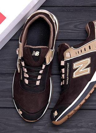 Мужские кожаные кроссовки nb  brown кроссовки мужские