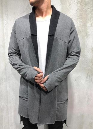 Кардиган мужской серый турция / кардіган чоловічий пальто наки...