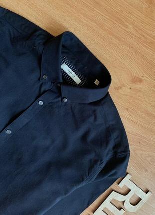 Чёрная классическая рубашка с синим оттенком jack&jones
