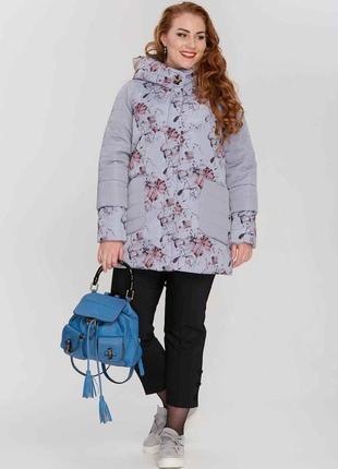 Стильная женская комбинированная демисезонная куртка с цветами...