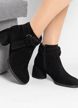 Женские замшевые ботинки весна осень на каблуке 6 см