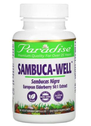 Paradise Herbs Sambuca-Well бузина. 250 мг, 60 растительных ка...