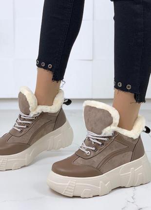 Ботинки на платформе, зимние ботинки на меху, ботинки на высок...