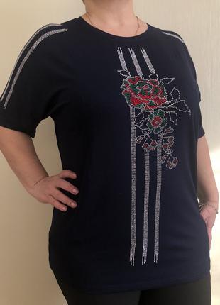 Блуза нарядная со стразами 52,54,56,58 р ТУРЦИЯ синяя,черная
