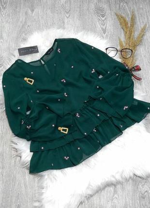 Красивенная блузка изумрудного цвета вышивка рюши new look р-р 14