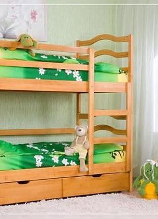 Двухьярусная кровать с ящиками.