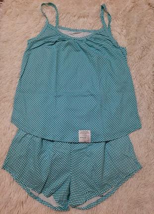 Пижама в горошек голубого цвета