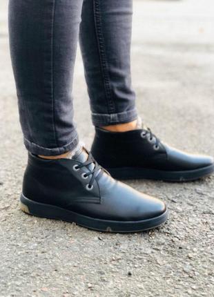Зимние ботинки черная кожа