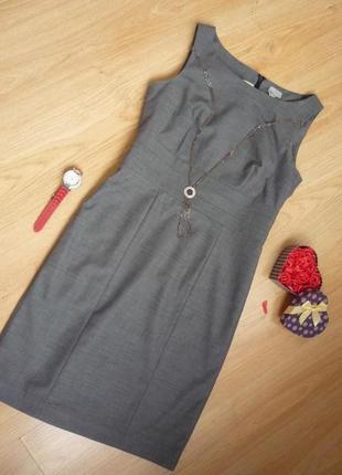 Платье футляр серого цвета / офис/ миди / h&m