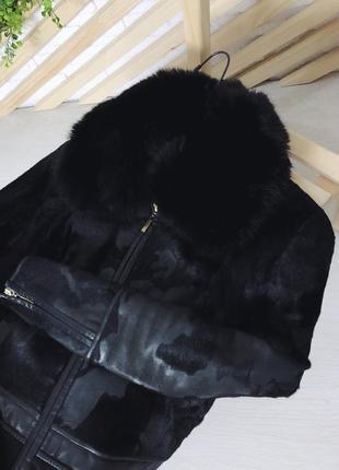 Кожаная куртка с красивым воротником из песца от punto