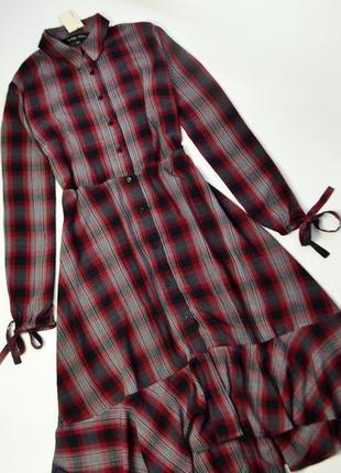 Стильное в клетку платье рубашка с длинным рукавом и воланами ...