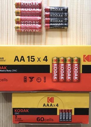 Батарейки Kodak пальчиковые АА R06 и микро пальчиковые ААА R03