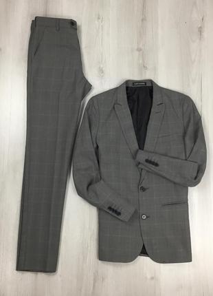 F0 n9  костюм серый flipback клетчатый приталенный пиджак/зауж...