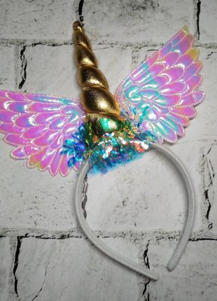 Ободок, обруч карнавальный Единорог с крыльями, золотой