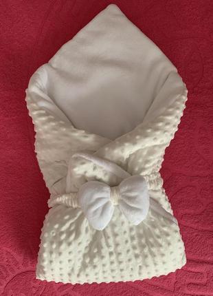 Красивый конверт одеяло на выписку с бантом