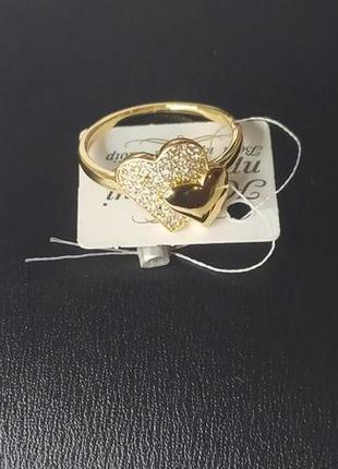 Кольцо 17,5р с фианитами, позолота 18к, медицинское золото
