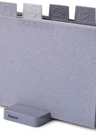 Набор 4 разделочные доски Fissman Dark 29х22см на подставке