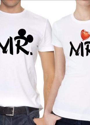 """Парные футболки с принтом """"mr. mrs (ушки микки и минни маусов)..."""