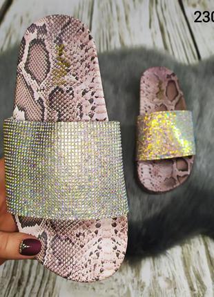 Sopra, модные женские шлепки со стразами и принтом