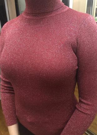 Гольф в рубчик с люрексом бордовый женский теплый зимний с горлом