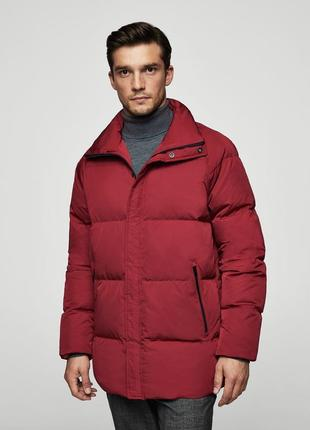 Куртка пуховик mango oversize fit eur m зима бордовая