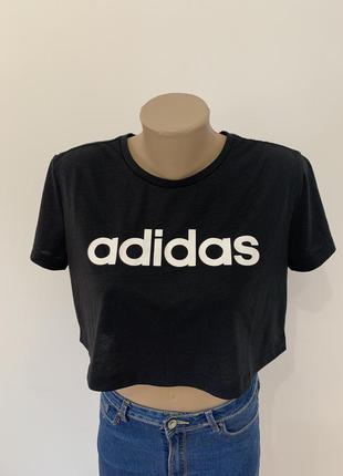 Футболка укороченая топ adidas чорная