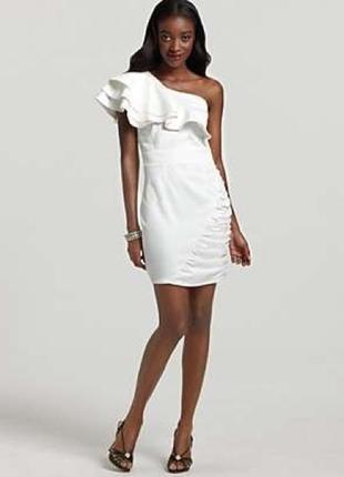Lipsy london шёлковое белое платье на одно плечо сукня