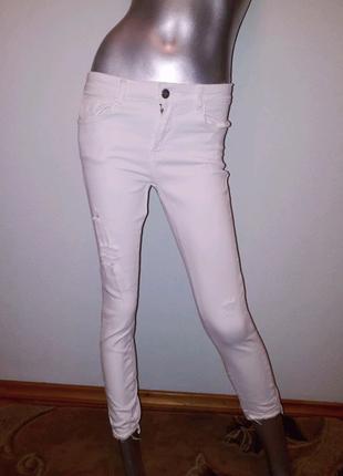 Джинсы белые женские стрейчевые, летние штаны тм ZARA раз. EUR 36