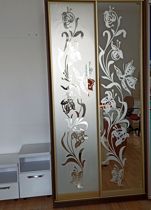 Шкаф купе с зеркалами с рисунком