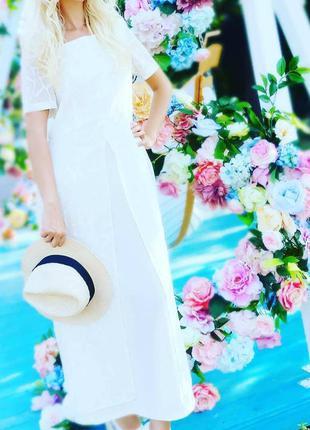 Платье белое длинное