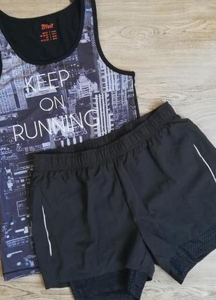 Комплект для занятий спортом, фитнесом шорты и майка crivit