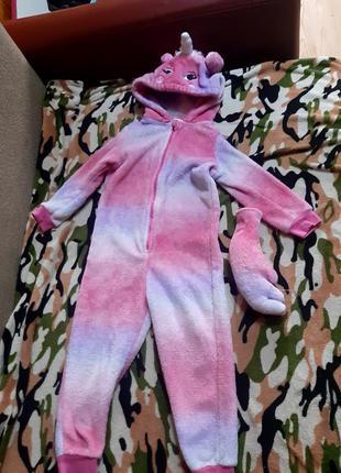 Кигуруми, слип розовый единорог, радужный пони