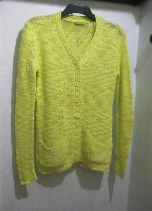 Кофта свитер джемпер на пуговицах janina салатовый жёлтый акрил