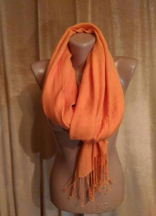 Палантин шарф коралловый, сочный апельсин, вискоза