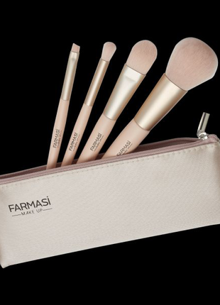 Набір пензликів для макіяжу з косметичкою Soft Pink