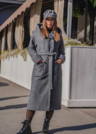 Демисезонное женское длинное пальто